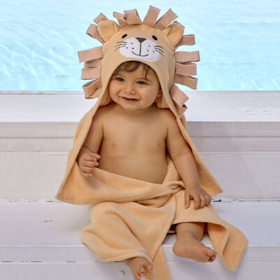 Elegant Baby Hooded Lion Personalized Bath Towel , , default