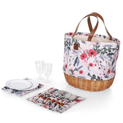"""""""Promenade"""" Service for 2 Pink Floral Picnic Basket Set"""