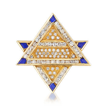 """C. 1990 Vintage 3.30 ct. t.w. Diamond and Lapis Star of David Pin/Pendant Necklace in 18kt Yellow Gold. 18"""", , default"""