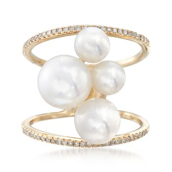 5-8.5mm Cultured Pearl Open-Space Ring With .18 ct. t.w. Diamonds in 14kt Gold, , default
