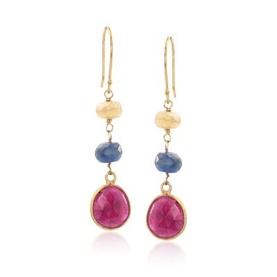 9.00 ct. t.w. Multicolored Corundum Drop Earrings in 14kt Gold Over Sterling, , default