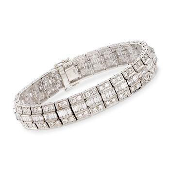"""C. 1980 Vintage 10.50 ct. t.w. Diamond and Platinum Bracelet. 7"""", , default"""