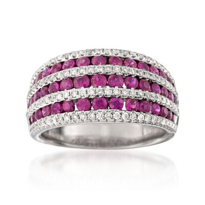 1.60 ct. t.w. Ruby and .53 ct. t.w. Diamond Multi-Row Dome Ring in 18kt White Gold, , default