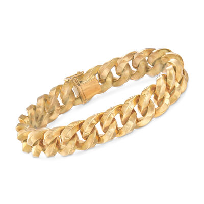 C. 1980 Vintage 18kt Yellow Gold Cuban-Link Bracelet, , default