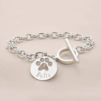 Sterling Silver Personalized Paw Print Bracelet, , default