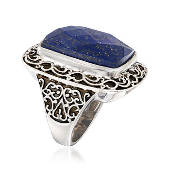 Cushion-Cut Lapis Scrollwork Ring in Sterling Silver, , default