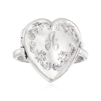 Italian Sterling Silver Single-Initial Floral Heart Locket Ring