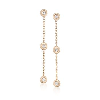 .17 ct. t.w. Diamond Station Linear Earrings in 14kt Yellow Gold, , default