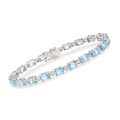 9.25 ct. t.w. Aquamarine and .42 ct. t.w. Diamond Bracelet in 14kt White Gold, , default