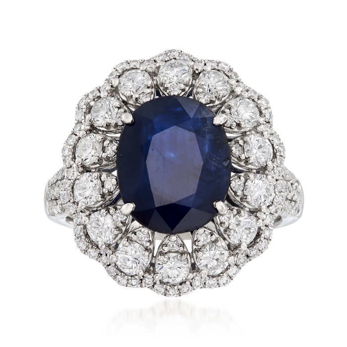 3.20 Carat Sapphire and 1.55 ct. t.w. Diamond Ring in 18kt White Gold