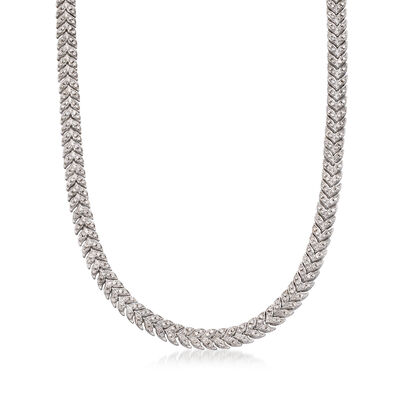 C. 1980 Vintage 7.00 ct. t.w. Diamond Chevron Necklace in 14kt White Gold, , default