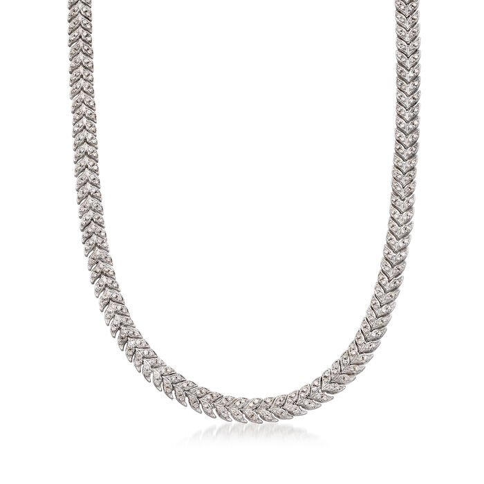 "C. 1980 Vintage 7.00 ct. t.w. Diamond Chevron Necklace in 14kt White Gold. 16.5"", , default"