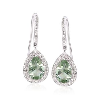 2.20 ct. t.w. Green Amethyst and .20 ct. t.w. Diamond Earrings in 15kt White Gold, , default