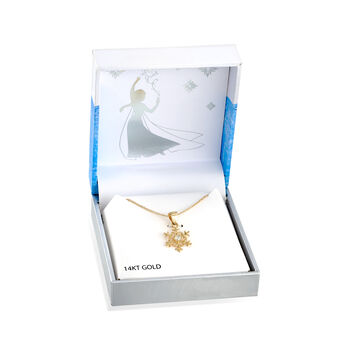 """Child's Disney """"Frozen"""" 14kt Yellow Gold Snowflake Pendant Necklace with CZ Accent. 15"""""""