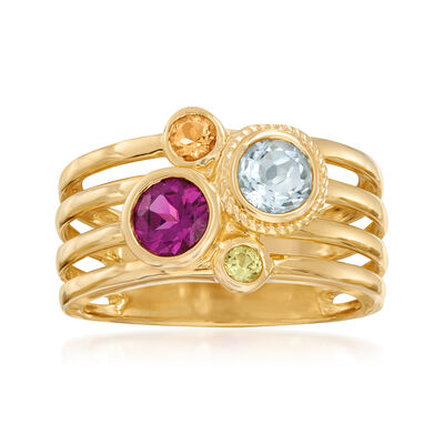 1.16 ct. t.w. Multi-Gemstone Multi-Row Ring in 18kt Gold Over Sterling, , default
