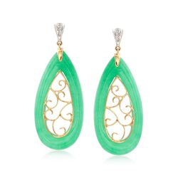 Green Jade Teardrop Scroll Earrings With Diamond Accents in 14kt Yellow Gold, , default