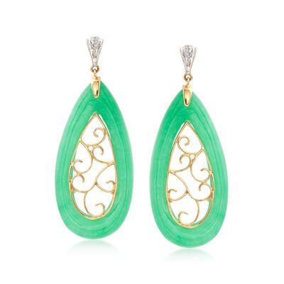 Green Jade Teardrop Scroll Earrings with Diamond Accents in 14kt Yellow Gold, , default