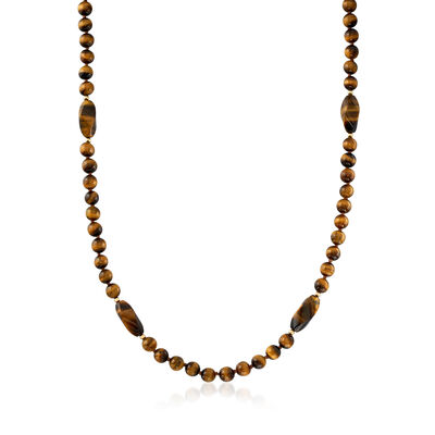 C. 1970 Vintage Tiger's Eye Beaded Necklace with 14kt Yellow Gold, , default