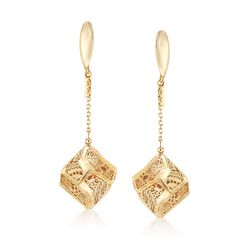 Italian 14kt Yellow Gold Geometric Filigree Drop Earrings, , default