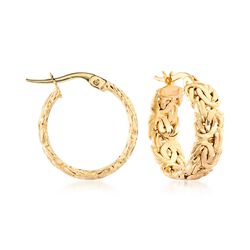 "14kt Yellow Gold Byzantine Hoop Earrings. 3/4"", , default"