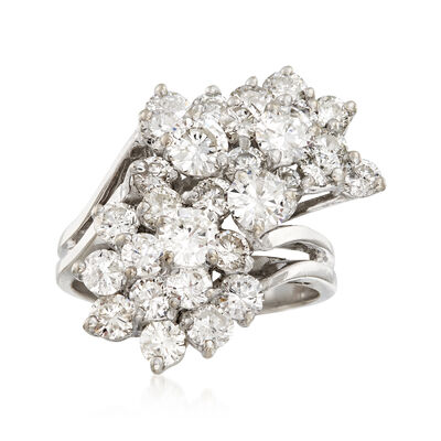 C. 1980 Vintage 4.00 ct. t.w. Diamond Cluster Ring in 14kt White Gold, , default