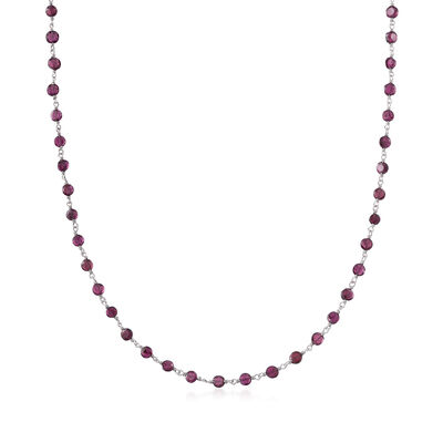 30.00 ct. t.w. Garnet Bead Station Necklace in Sterling Silver, , default
