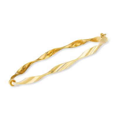 Italian 14kt Yellow Gold Ribbon Bangle Bracelet, , default