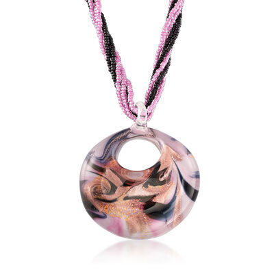 Italian Multicolored Murano Bead Torsade Pendant Necklace in 18kt Gold Over Sterling, , default