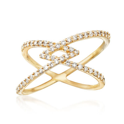 .50 ct. t.w. Diamond Crossover Ring in 14kt Yellow Gold, , default