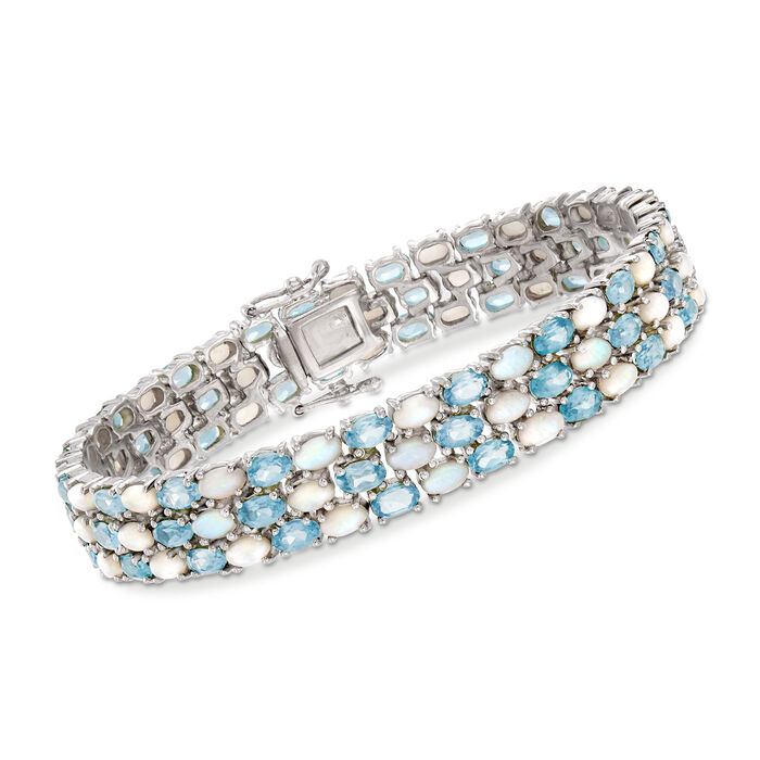 "Opal and 12.00 ct. t.w. Blue Topaz Three-Row Bracelet in Sterling Silver. 7.5"", , default"