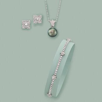 """2.85 ct. t.w. Diamond Flower Station Bracelet in 14kt White Gold. 8"""""""