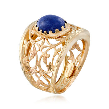 Italian Lapis Scroll Ring in 14kt Yellow Gold. Size 6, , default
