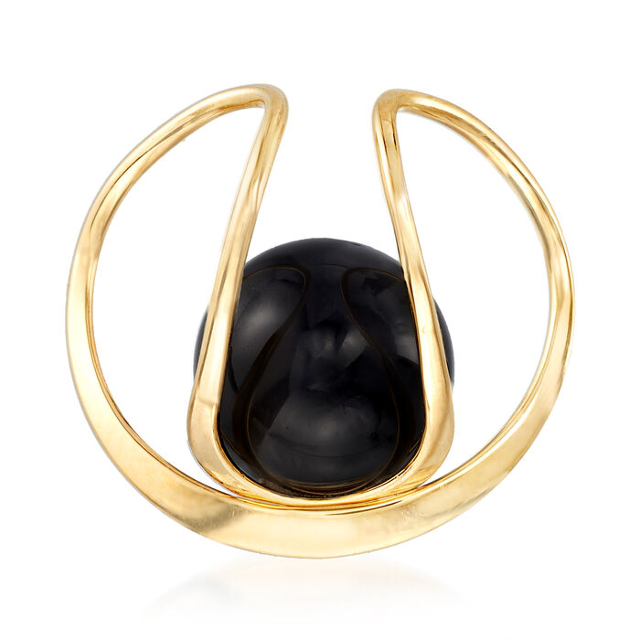 12mm Black Onyx Slide Pendant in 14kt Yellow Gold, , default