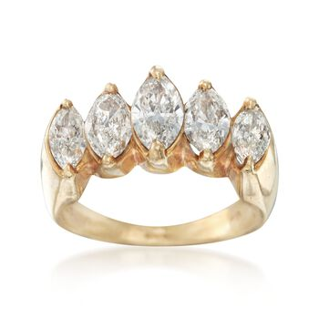 C. 1980 Vintage 1.80 ct. t.w. Marquise Diamond Engagement Ring in 18kt Yellow Gold. Size 6.5, , default