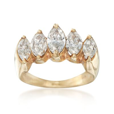 C. 1980 Vintage 1.80 ct. t.w. Marquise Diamond Engagement Ring in 18kt Yellow Gold, , default
