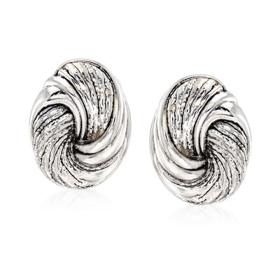 Sterling Silver Textured Swirl Oval Earrings
