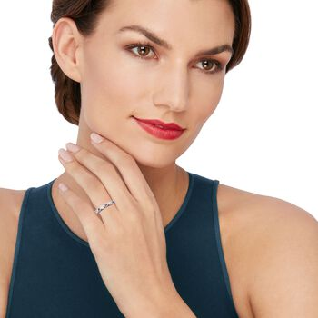 .30 ct. t.w. Sapphire and .14 ct. t.w. Diamond Milgrain Twist Ring in 14kt White Gold, , default