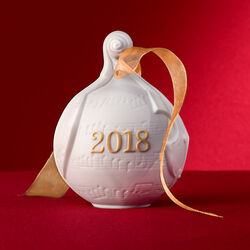 Lladro 2018 Annual Porcelain Ball Ornament - Gold, , default