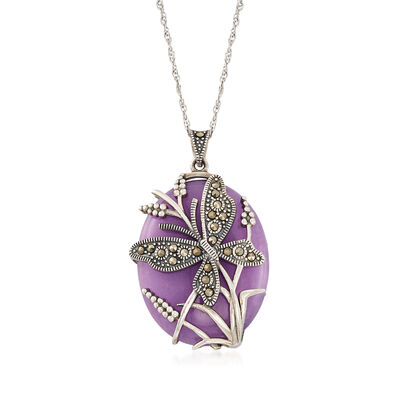 30x25mm Purple Agate and Marcasite Beaded Butterfly Pendant Necklace in Sterling Silver, , default
