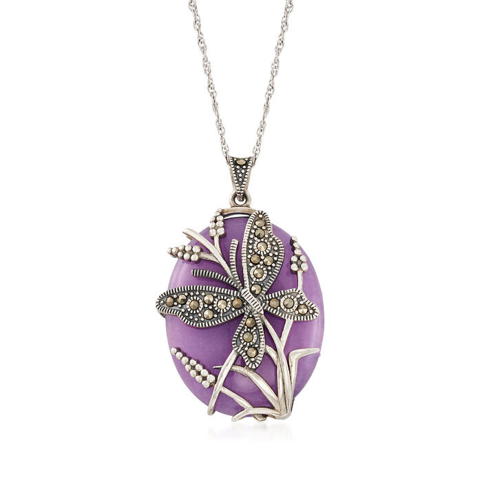 30x25mm Purple Agate and Marcasite Beaded Butterfly Pendant Necklace in Sterling Silver
