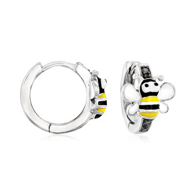 .10 ct. t.w. Black Spinel and Enamel Bee Huggie Hoop Earrings in Sterling Silver