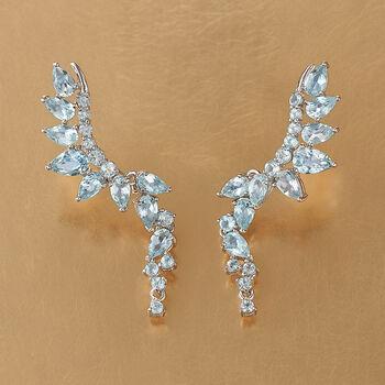 4.60 ct. t.w. Blue Topaz Ear Crawlers in Sterling Silver , , default