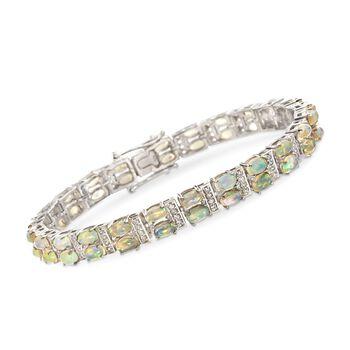"Ethiopian Opal and .90 ct. t.w. White Zircon Tennis Bracelet in Sterling Silver. 7.5"", , default"