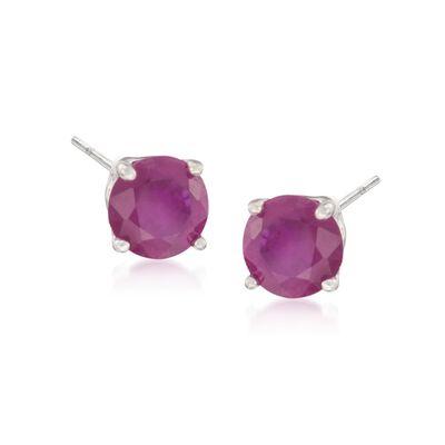 1.25 ct. t.w. Ruby Stud Earrings in 14kt White Gold, , default