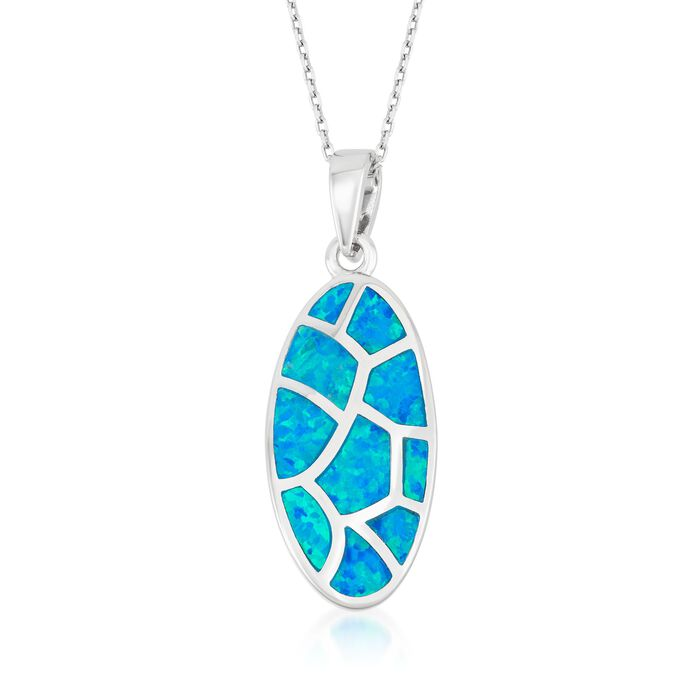"""Blue Synthetic Opal Mosaic Pendant Necklace in Sterling Silver. 18"""""""