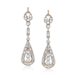 C. 1980 Vintage .75 ct. t.w. Diamond Teardrop Earrings in 14kt Two-Tone Gold, , default