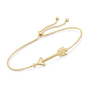 14kt Yellow Gold Arrow Bolo Bracelet , , default