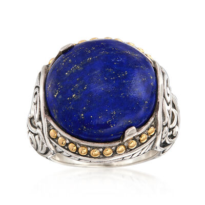 Lapis Ring in Sterling Silver with 18kt Yellow Gold, , default
