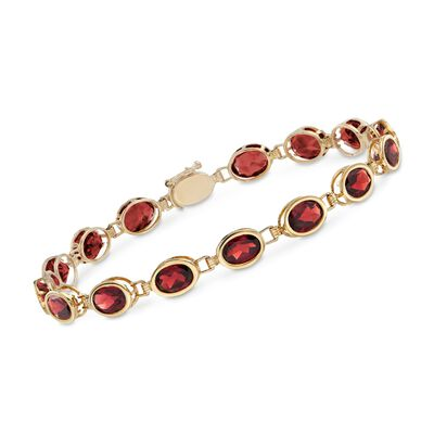 14.00 ct. t.w. Oval Bezel-Set Garnet Bracelet in 14kt Yellow Gold, , default