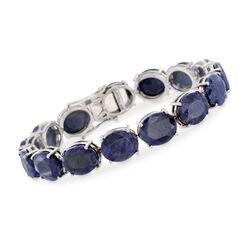 "70.00 ct. t.w. Sapphire Tennis Bracelet in Sterling Silver. 7.25"", , default"